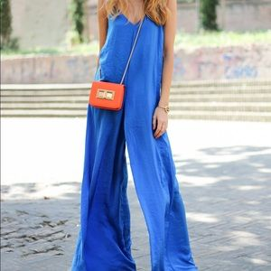 Zara Cobalt Blue Wide Leg Double Strap Jumpsuit